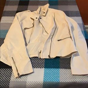 Double zipper cream faux leather jacket